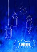 stock photo of eid ka chand mubarak  - illustration of illuminated lamp on Eid Mubarak  - JPG