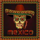 image of sombrero  - Traditional mexican scull with sombrero - JPG