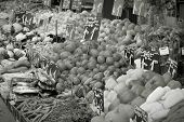 stock photo of farmers market vegetables  - Vegetable stand at a marketplace in Vienna Austria - JPG