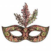 picture of venetian carnival  - Vector ornate floral Venetian carnival mask with feathers - JPG