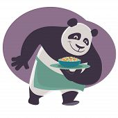 stock photo of panda bear  - Cheerful cartoon waiter Panda bears a tray with Chinese food - JPG
