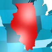 stock photo of usa map  - Illinois map on blue USA map image with hi - JPG