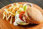 stock photo of burger  - burger with french fries - JPG