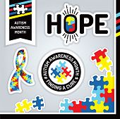 picture of aspergers  - An illustration of various autism awareness elements - JPG