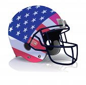 picture of football helmet  - An illustration of an American Football helmet with an american flag painted on it - JPG