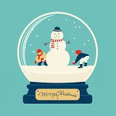 picture of snowman  - Merry christmas glass ball with snowman and children - JPG