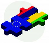 picture of mauritius  - European Union and Mauritius Flags in puzzle isolated on white background - JPG