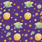 foto of comet  - Awesome cosmic seamless pattern with earth - JPG