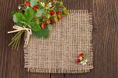 stock photo of bundle  - bundle of wild strawberries on a rustic background - JPG