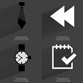 stock photo of wrist  - Tie Two arrows media icon Wrist watch Task completed icon - JPG
