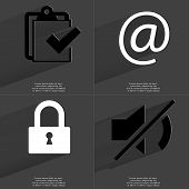 picture of tasks  - Task completed icon At sign Lock Mute icon - JPG