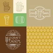 stock photo of brew  - Vector craft beer and brewery logos and design elements in linear style  - JPG