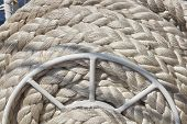 stock photo of  rig  - foto Rigging of an ancient sailing vessel - JPG
