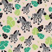 stock photo of jungle animal  - Seamless kids zebra animal jungle zoo illustration green leaf garden illustration background pattern in vector - JPG