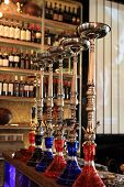 picture of shisha  - The shisha on a bar counter in the arabic cafe - JPG