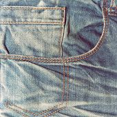 stock photo of denim jeans  - Vintage jeans texture background - JPG
