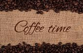 picture of peppy  - roasted coffee beans on a bag background - JPG