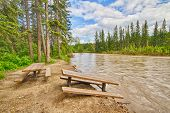 image of flood  - Damaged picnic area beside the Bow River after the 2013 Calgary flood - JPG
