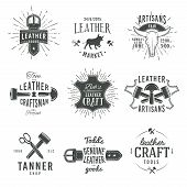 picture of leather tool  - Second set of grey vector vintage craftsman logo designs - JPG