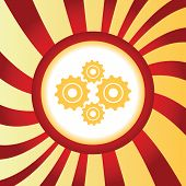 stock photo of four-wheel  - Yellow icon with image of four cogs - JPG