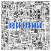 image of dowry  - Close up BRIDE BURNING Text at the Center of Word Tag Cloud on White Background - JPG