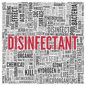 stock photo of microorganisms  - Close up DISINFECTANT Text at the Center of Word Tag Cloud on White Background - JPG