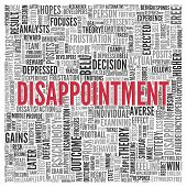 foto of disappointment  - Close up DISAPPOINTMENT Text at the Center of Word Tag Cloud on White Background - JPG