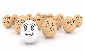 stock photo of angry smiley  - One happy smiling egg amongst sad angry and envious crowd of eggs isolated on white background - JPG