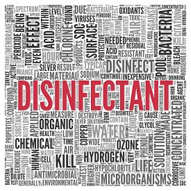 picture of disinfection  - Close up DISINFECTANT Text at the Center of Word Tag Cloud on White Background - JPG