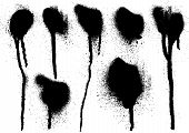 stock photo of mud pack  - black grungy spray drips on white background - JPG