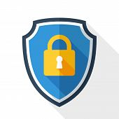 Vector Protective Shield Icon With The Image Of A Padlock. Security Concept Simple Icon In Flat Styl poster
