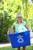 picture of recycling bin  - Young girl with recycle bin - JPG