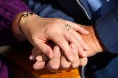 image of holding hands  - Senior couple hands - JPG
