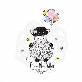 Постер, плакат: Muslim Community Festival of Sacrifice Eid Al Adha Mubarak with illustration of a creative Sheep h