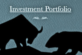 foto of nyse  - shadows of bull and bear fighting over direction of stock market over investment portfolio - JPG
