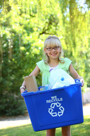 image of recycle bin  - Young girl with recycle bin - JPG