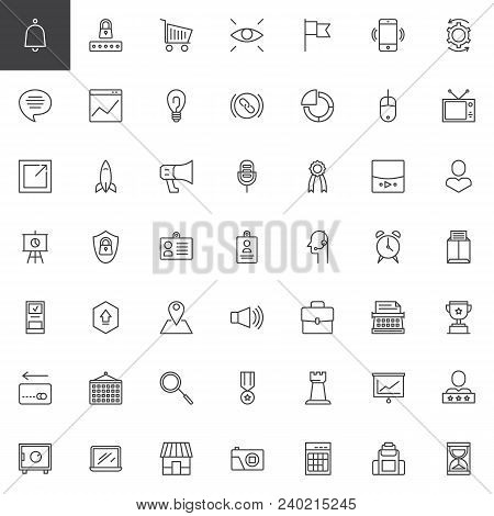 poster of Digital Marketing Outline Icons Set. Linear Style Symbols Collection, Line Signs Pack. Vector Graphi