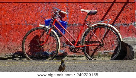 Vintage Bicycle Against Old Brick