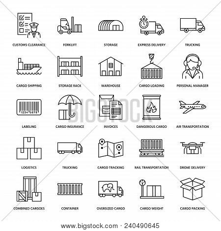 poster of Cargo Transportation Flat Line Icons. Trucking, Express Delivery, Logistics, Shipping, Customs Clear