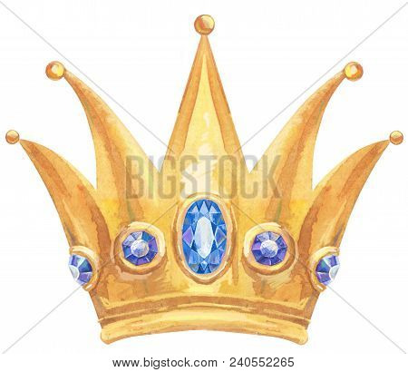 Watercolor Gold Crown With Precious
