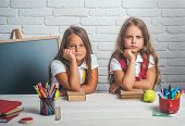 Back To School And Home Schooling. Bored School Kids At Lesson In September 1. School Time Of Girls. poster