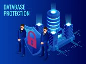 Isometric Database Protection Concept. Server Room Rack, Database Security, Shield Server Unit, Comp poster