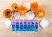 Pre-filling Twice A Day Medication Box With Many Pills. The Importance Of Medication Management Cann poster
