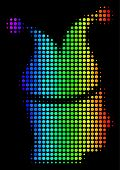 Dot Colorful Halftone Joker Icon Drawn With Rainbow Color Tinges With Horizontal Gradient On A Black poster