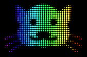 Pixelated Colorful Halftone Kitty Icon In Spectral Color Tints With Horizontal Gradient On A Black B poster