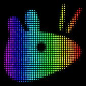 Pixelated Impressive Halftone Mouse Head Icon Drawn With Rainbow Color Shades With Horizontal Gradie poster