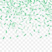 A Bright Shine Of Confetti. Abstract Background With Falling Green Tiny Confetti. Luxury Festive Bac poster