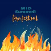 Midsummer Holiday Fire Festival Poster. Bonfire Night. Colorful Cartoon Flame Sign. Burning Flaming  poster