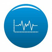 Cardiogram Icon. Simple Illustration Of Cardiogram Vector Icon For Any Design Blue poster