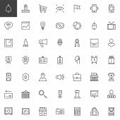 Digital Marketing Outline Icons Set. Linear Style Symbols Collection, Line Signs Pack. Vector Graphi poster